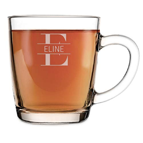 YourSurprise Teeglas mit Gravur Personalisierbar mit Namen - Teeglas Graviert mit Namen: Personalisierbar mit Text, Verschiedenen Designs und Schriftarten