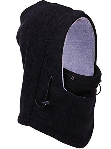 Bigood (TM) Bonnet d'extérieur épais en laine à capuche-Couvre-fer-Écharpe Bonnet coupe-vent Noir