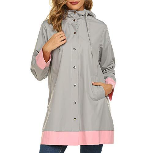 SUNAELIA Raincoat for Women Waterproof Rain Jacket Hooded Outdoor Lightweight Rain Coat Grey