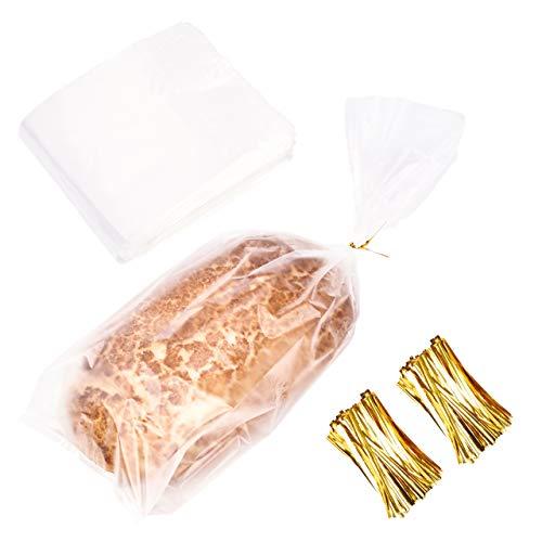 150 Transparente Plastiktüten Plastikbeutel für Brot Brotlaib Brötchen (46cmx20cmx10cm)| Klare Brotbeutel mit Twistband Bindedrähte| Stark & BPA-Frei| Halten Sie Backwaren Brot & Kuchen Länger Frisch