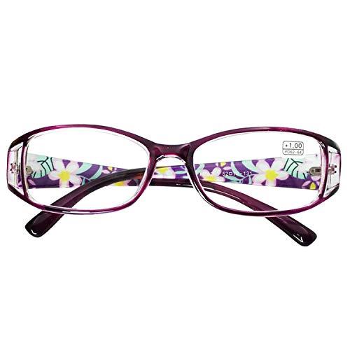 VEVESMUNDO Gafas de Lectura Mujeres Hombres Flores Estrechas Ojo de Gato Calidad Vintage Retro Leer Graduadas Vista Presbicia Lejos 1.0 1.5 2.0 2.5 3.0 3.5 4.0 4.5 5.0 5.5 6.0 (6.0, Morado)