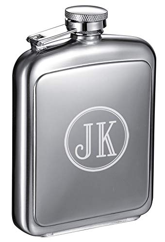 Personalized 8oz. Visol Vitak Polished and Brushed Stainless Steel Liquor Flask with Free Engraving (Two Initials)