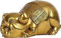 装飾品真鍮風水豚像ムーンイヤーピギー富の富の中国黄道彫刻装飾Feng Shuiの装飾