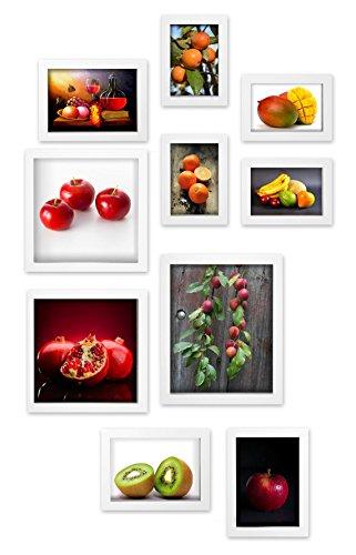 Close Up® Design Rahmen Collage Set 10-teilig, Premium - Holz, 4 versch. Größen weiß, Formate von 10x15cm bis 20x25cm