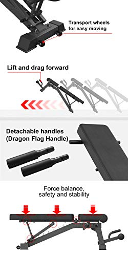 YouTen Adjustable 9 Positions Incline Decline Sit Up Bench Improved Cushion for Exercise, Handles for Dragon Flag, Rated Full Body Workout Foldable Bench for Dragon Flag (Black)