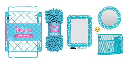 School Locker Organizer Kit - Accessories and Decoration Set with Mirror, Message Board, Bin, Rug and Shelf (Aqua/Teal)