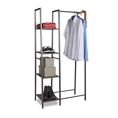 Relaxdays Portant à vêtements en métal avec 4 étages de rangement anthracite HxlxP: 162 x 85 x 40 cm, gris