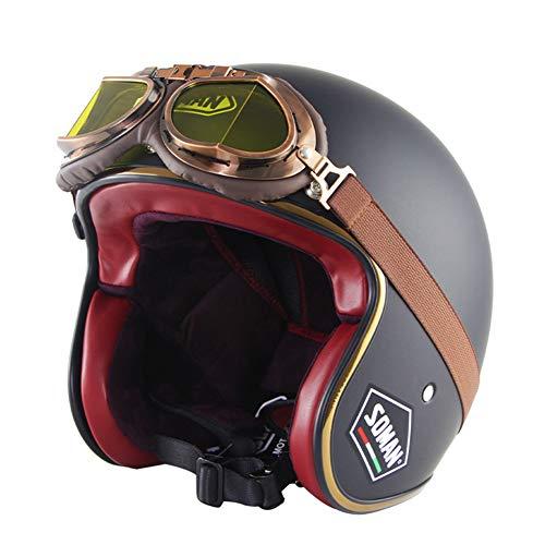 LFTS Dot Certified 3/4 Retro Open Face Casco de Motocicleta Jet Moto Scooter Cruiser Chopper Street Glide Crash Casco con Gafas y Viseras Vintage,Matte Black,M57cm~58cm