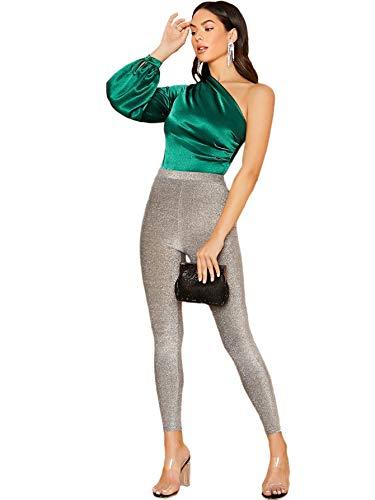 Women's One Shoulder Long Sleeve High Waist Satin Bodysuit Leotard