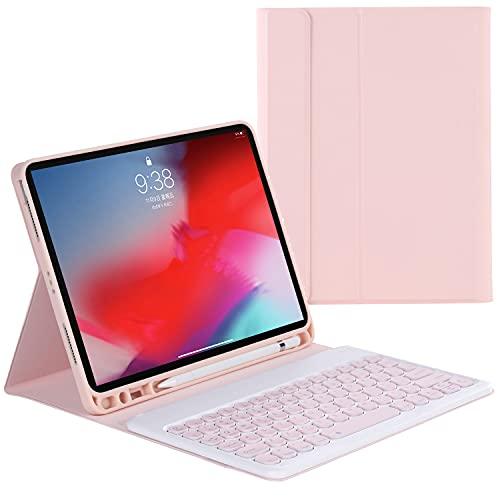 ZOMUN Capa para teclado para iPad 9,7 (5ª geração 2017) e (6ª geração 2018), teclado Bluetooth sem fio e capa fólio de couro sintético com suporte para Apple Pencil