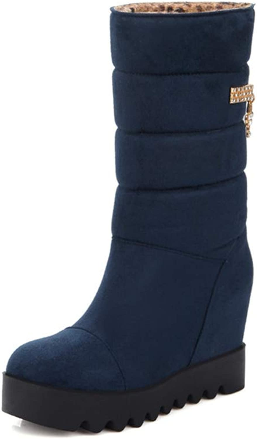 LVYING Winter Fashion Snow Boots Round Toe Women Mid Calf Boots Platform Heigh Increasing Flock Boots
