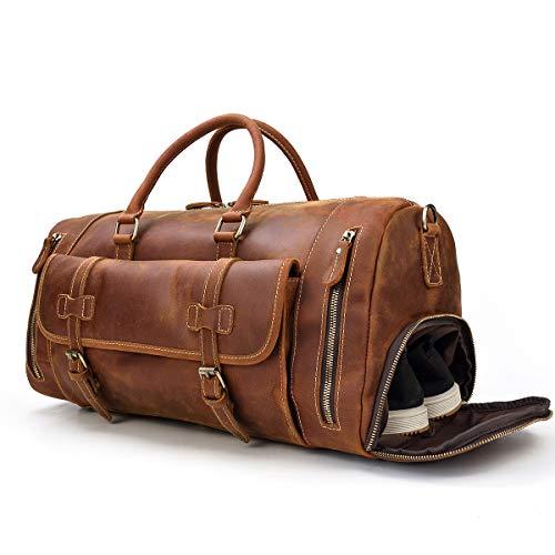 LUUFAN Bolso De Viaje Nocturno De Cuero Genuino para Hombres Bolso de Lona Bolsa de Fin de Semana Vintage de Alta Capacidad (Light Brown-52cm)