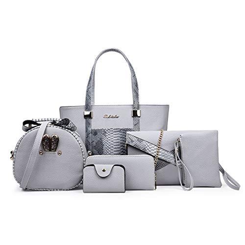 DEERWORD Damen Umhängetaschen Frau Handtaschen Lack PU-Leder Elegant Tote Schultertaschen 5-teilig set Grau
