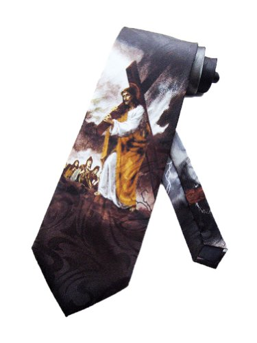 Steven Harris Mens Jesus Carrying the Cross Necktie - Black - One Size Neck Tie