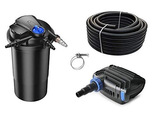 AquaOne Teich Filteranlage Set Nr.43 CPA 15000 Druckfilter 80W Eco Teichpumpe Teichgröße bis 30000l Teichschlauch Bachlauf UV Lampe