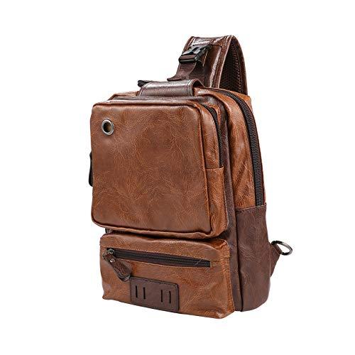 Men's Sling Bag, Crossbody PU Leather Shoulder Backpack with USB Charging Port, Vintage Chest Bag for Men(Brown)