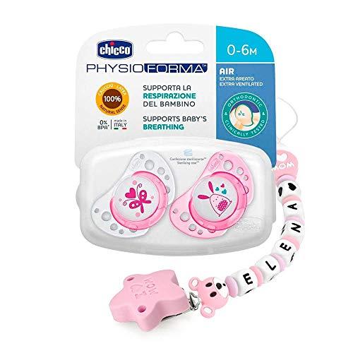 RUBY - Chupetero Personalizado para Bebe con nombre Bola Silicona Antibacteria con Pinza de Acero Inoxidable (Rosa Pastel, Chupeteros)