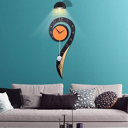 WHSS Reloj de pared de madera con columpio creativo para sala de estar, estilo europeo, decoración para dormitorio, silencio en el tiempo