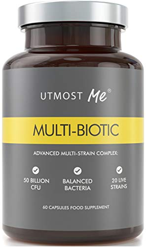 Multi-Biotic Probiotic - 20 Live Strains with 50 Billion CFU, The Only Gut Health Support System of 20 Balanced Bacteria Strains, 60 Vegan Capsules