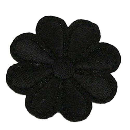 Chakil 1 pcs Tissu Noir Fleur Stickers Patch Chaussures Chapeaux Sacs Accessoires Applique Crafts Taille 4 * 3.8 cm