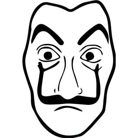 Bearn masker Dali La Casa de Papel Logo 88 zelfklevend 3XL Wit.