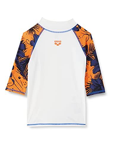 ARENA Jungen Sonnenschutz Shirt Rash Allover B Vest S/S, White-Floreale Multi, 128