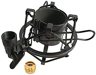 Universal Microphone Shock Mount for Standard Condenser Mic, Gulee Adjustable Anti Vibration Metal Shockmount Mic Holder Clip Clamp with 5/8