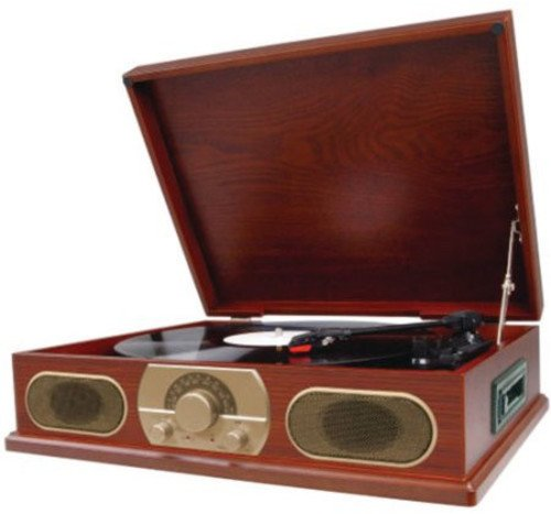 Spectra Studebaker Wooden Turntable with AM/FM Radio & Cassette Player SB6052