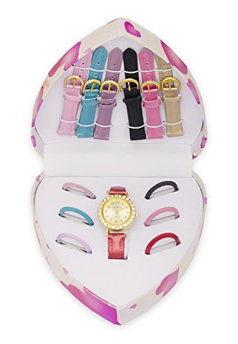 Watch Set with 7 Interchangeable Faux Leather Bands & Bezels