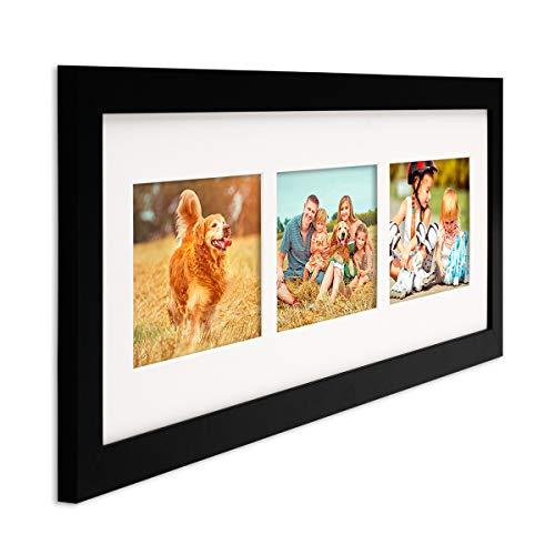 PHOTOLINI Fotocollage-Bilderrahmen Modern Schwarz aus MDF Collagerahmen Bildergalerie-Rahmen für 3 Bilder 10x15 cm Wechselrahmen mit Passepartout