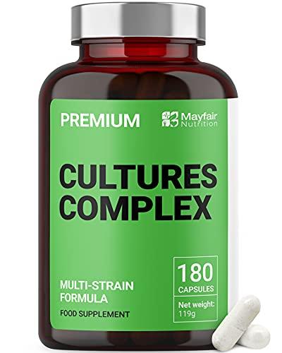 Probióticos Cultures Complex | 180 Comprimidos | Lactobacilos y acidófilos | Vegetariano | No GMO. Sin gluten | 6 meses