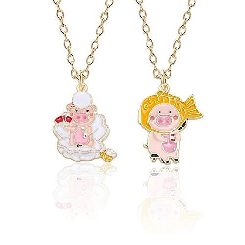 YUNMENG Colgante de Collar de aleación de Esmalte Dorado de Cerdo Rosa de Dibujos Animados para Mujer, Regalo Creativo de Cerdo con Peces Dorados, joyería para niñas Hermosas