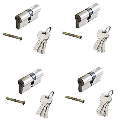 4 tlg. 60mm (30/30) Gleichschließende Zylinderschloss, Einbauschloss, Türzylinder, Profilzylinder Set - inkl. 12 Schlüssel