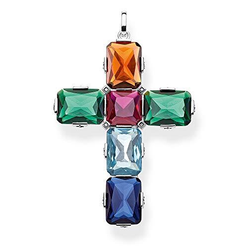 Thomas Sabo Damen-Anhänger Kreuz farbige Steine silber groß 925 Sterlingsilber PE858-318-7