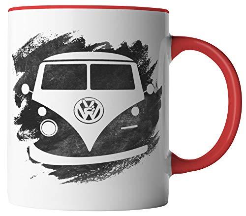 vanVerden Tasse - Retro Bulli Design T1 Camper Van Bus - beidseitig Bedruckt - Geschenk Idee Kaffeetassen mit Spruch, Tassenfarbe:Weiß/Rot