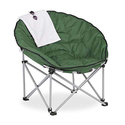 Relaxdays Moon Chair XXL, Faltbarer Campingsessel, HBT: 96 x 100 x 74 cm, gepolstert, Klappsessel mit Tasche, dunkelgrün