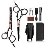 Juego de tijeras profesionales para peluquería y peluquería de acero inoxidable, 9 unidades