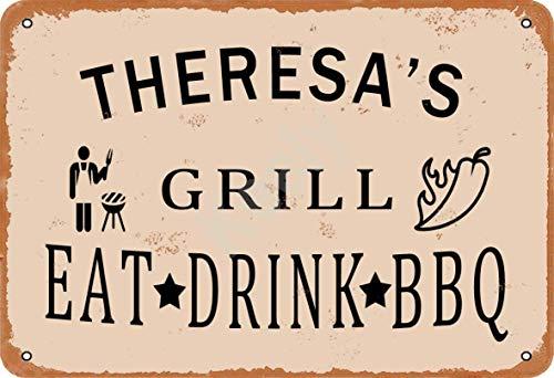 Keely Theresa'S Grill Eat Drink BBQ Metall Vintage Zinn Zeichen Wanddekoration 12x8 Zoll für Cafe Bars Restaurants Pubs Man Cave Dekorativ