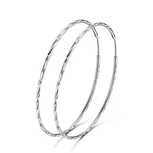 YFN 925 Sterling Silver Circle Endless Hoop Earrings for Women Girls Size 40 50 60MM