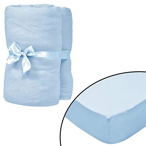 vidaXL 4X Drap-Housses pour Berceaux Jersey de Coton 60x120 cm Bleu Maison