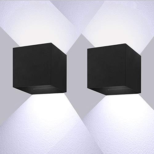12W LED Wandleuchten 6000K Kaltweiß Außenwandlampen Mit Einstellbar Abstrahlwinkel LED Wandbeleuchtung IP65 wasserdichtI(2 Stück)