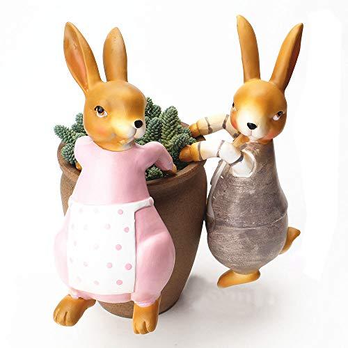 Sungmor Creative Cartoon Escalade Pot Hanger Lapin Couple Statue Ornements Décoratifs - Résine Premium Drôle Animal Simulé - Décor Intéressant pour Pot de Fleurs/Jardin Clôture/Fish Tank