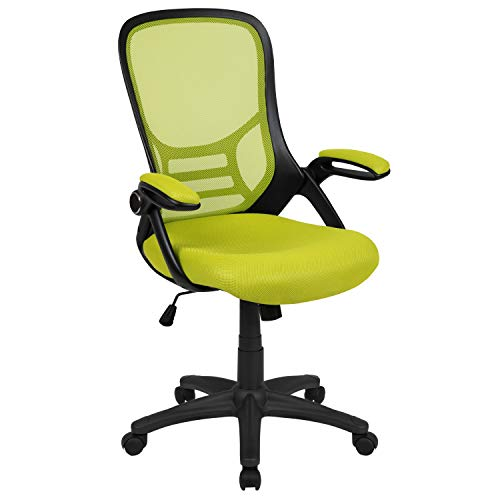 Flash Furniture HL-0016-1-BK-GN-GG High Back Green Mesh Ergonomic Swivel Office Chair with Black Frame and Flip-up Arms 26.5'W x 26.5'D x 40.25' - 44'H