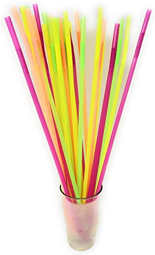 17 Inch Mammoth Bendy Straws - ASSORTED NEON (Pack of 200)