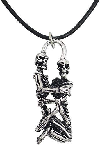 NC110 Vintage Punk Esqueleto Collar Pareja Antigua Calaveras Abrazo Colgante Collar Cuero Cuerda Cadena Collares para Amantes Colar YUAHJIGE