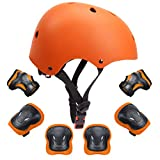 """Kids Protective Gear Set Toddler Kids Bike Helmet Knee Elbow Pads Wrist Guards Pads for 3-8 Years Boys Girls Skateboard Cycling Scooter Sports Protective Gear Set 7Pcs (Orange, 18.89""""-21.26"""")"""