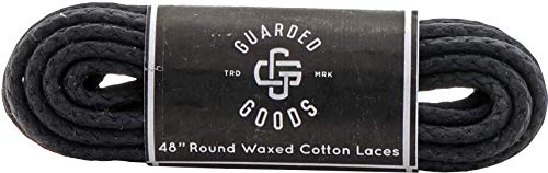 Round Braided Cord Waxed Boot Laces - 48' Black