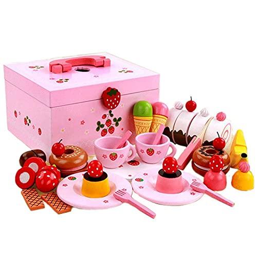 Juego de té europeo para niños Caja de juguetes musicales con corte de pastel de fresa Mariposa de madera Simulación de niña Juego de té de madera Fiesta del té de la tarde,Juego de té de regalo
