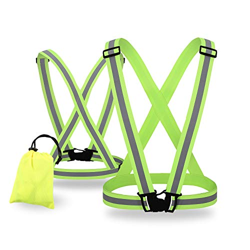 SIFE High Visibility Adjustable Reflective Safety Vest Lightweight, Elastic Safety for Running Jogging, Walking,Cycling Fits Over Outdoor Clothing Motorcycle Jacket Outdoor Gear (2 Pack)