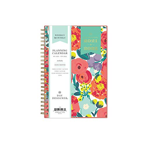 Day Designer for Blue Sky 2021-2022 Academic Year Weekly Monthly Planner 5 x 8 Frosted Flexible Cover Wirebound Floral Sketch 132263